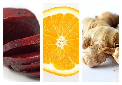 Řepná šťáva s pomerančem a zázvorem