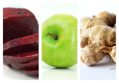 Šťáva z červené řepy a jablek se zázvorem